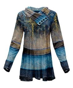 Lily Blue   Brown Stripe Button Shawl-Collar Tunic - Women   Plus 3487aba3e