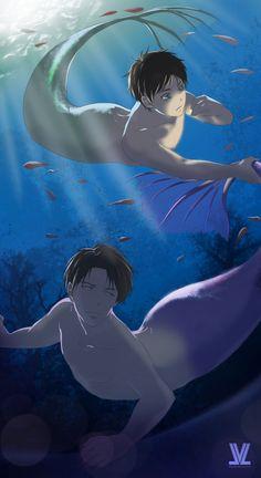 Attack on Titan (SnK) - Eren Yeager x Levi Ackerman - Ereri Ereri, Eren Y Levi, Magical Creatures, Fantasy Creatures, Sea Creatures, Mermaid Man, Anime Mermaid, Attack On Titan Funny, Attack On Titan Anime