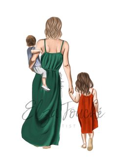 Mother, Daughter & Son A popular request! Don't forget I can change hair colour and style and clothing colours at extra charge. Click the link in the bio for more info!Now to start on the other suggestions 😊 Change Hair Color, Hair Colour, Mother Daughter Art, Grandma Quotes, Family Print, Mom Tattoos, Large Prints, Fashion Sketches, Foto E Video