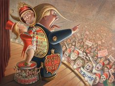 'Trump-o-Matic' by Mark Bryan. Find out more about Mark and see more of his fantastic art in his interview at wowxwow.com. (horror, humor, humour, imagination, narrative, painting, politics, political, pop culture, satire, sci-fi, science fiction, subconscious, surreal, surrealism, symbolism, wit, contemporary art, fine art, new contemporary art)