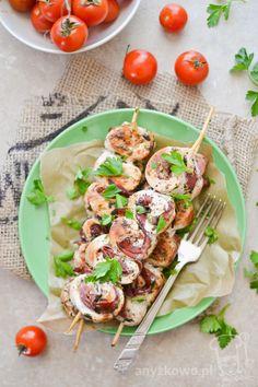 Anyżkowo: Zakręcone szaszłyki z fileta i szynki szwarcwaldzkiej Bruschetta, Ethnic Recipes, Food, Diet, Essen, Meals, Yemek, Eten