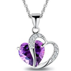 1 PCS 9 Colors Top Fashion Class Women Girls Lady Heart Crystal Amethyst Pendant Necklace NEW Jewelry