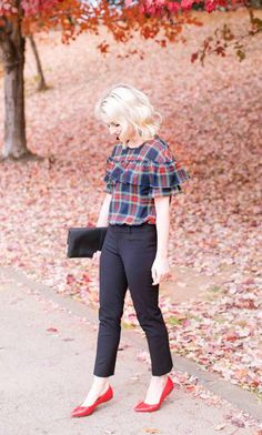 http://LIKEtoKNOW.it Post, plaid blouse top, red flats shoes, church girl outfit, cute outfits
