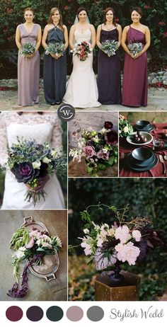 burgundy,purple and sage green fall wedding ideas    Liked the different bouquets between bride and bridesmaids...