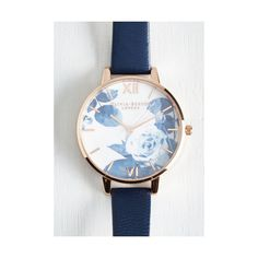 Luxe Trick of the Clock Watch by Olivia Burton from ModCloth (785 DKK) ❤ liked on Polyvore featuring jewelry, watches, accessories, blue, blue gold jewelry, gold jewellery, gold jewelry, blue jewelry and rose gold wrist watch