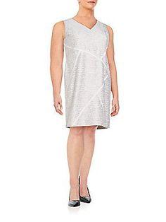 Lafayette 148 New York, Plus Size Kiersten Sakura Jacquard Dress - Whi