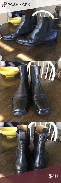 Bally men's Chelsea boots, sz. 9, Italian made Killer Bally Chelsea boots; Italian construction, wide gusset for easy entry and exit, leather footbed, heel taps and taller shaft. Great profile and super versatile. Run TTS. Bally Shoes Boots