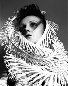 Sculptural Fashion with dramatic spiralling form; architectural fashion design // Shinsuke Mitsouka