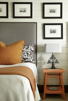 Color palette & fabulous small plaid on the headboard...