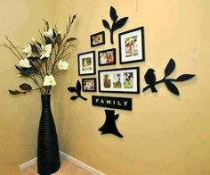 Wall decoration idea with family pictures