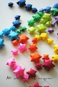Origami garland. Time consuming, but looks so fun