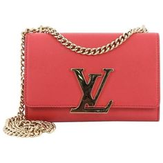 Preowned Louis Vuitton Chain Louise Clutch Leather Mm (2 410 400 LBP) ❤ liked on Polyvore featuring bags, handbags, clutches, pink, top handle bags, leather purses, leather clutches, chain strap purse, red clutches and leather handbags
