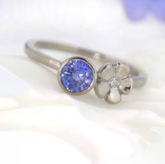 sapphire and diamond flower ring by lilia nash jewellery | notonthehighstreet.com