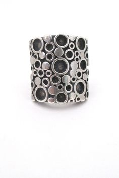 Marianne Berg for Uni David-Andersen heavy silver 'circles' ring