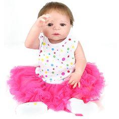 Mohair Doll Reborn 22inch Soft Realistic Lifelike Girl Baby Doll 55cm Full Silicone Reborn Dolls Toys Playmate Doll Brinquedos