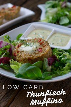 Easy peasy Rezept - Thunfisch Muffins low card mit Honig Senf Dip