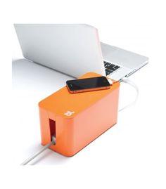 Bluelounge CableBox Mini oranje. Geen wirwar van kabels en snoeren meer!