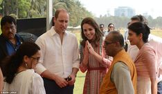 Meet and greet: William and Kate spoke to local children and representatives from the Mumbai charities Magic Bus, Childline and Doorstep