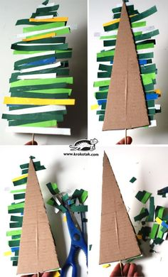Fir tree made of colored paper stripsA tree that can be created with a child to illustrate another tree with colored paper strips and different cardboard boxes.Greet Advent with a wreath on the door - Preschool Christmas, Noel Christmas, Christmas Activities, Christmas Crafts For Kids, Christmas Projects, Simple Christmas, Preschool Crafts, Holiday Crafts, Christmas Decorations