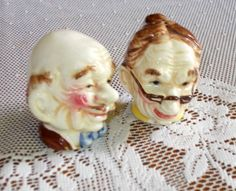 Vintage Salt and Pepper Shakers ~ Old Man & Women Heads