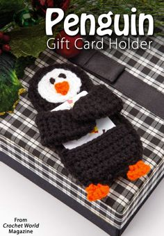 Penguin Gift-Card Holder from the December 2014 issue of Crochet World Magazine… Crochet Christmas Ornaments, Christmas Crochet Patterns, Holiday Crochet, Crochet Stitches Patterns, Christmas Knitting, Crochet Gifts, Knit Crochet, Crochet Baby, Christmas Decor