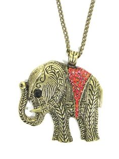 Elephant Necklace Ruby Red Crystal Animal Ethnic « Holiday Adds