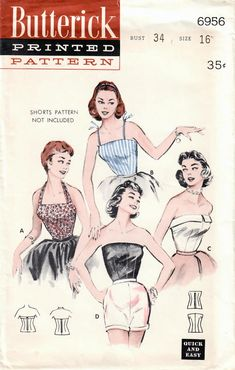 Butterick 6956 UNCUT Vintage Sewing Pattern Misses Halter Top, Camisole Blouse, Strapless Blouse Size 16 Bust 34 How To Make Clothes, Making Clothes, Vintage Sewing Patterns, Sewing Ideas, Sewing Projects, Blouse Patterns, Workout Tops, Dressmaking, Vintage Outfits