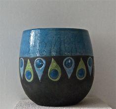 mug raku bleu canard motifs gouttes