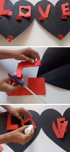 L.ove Greeting Card   DIY Valentines Cards for Him Cute Ideas