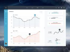A minimal but elegant dashboard user interface with graphs. Free PSD designed and released by Malte Westedt.