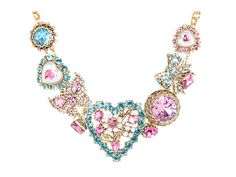 Betsey Johnson Heart and Bow Heart Frontal Necklace