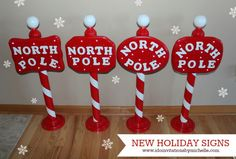 Handmade North Pole Signs (With Lights!) I DO invitations by michelle Christmas Stocking Stand, Christmas Booth, Outdoor Christmas, Christmas Holidays, Disney Christmas, Christmas 2017, Christmas Gift Decorations, Holiday Crafts, Holiday Fun
