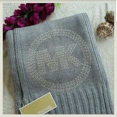 """MICHAEL MICHAEL KORS SCARF Brand new with tags  Gray with silver studded MK logo 100% Acrylic  One size Length:  75"""" MICHAEL Michael Kors Accessories Scarves & Wraps"""