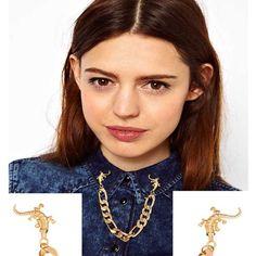 Stylish Crocodile Chain Collar Brooch Gold