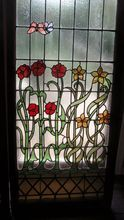 Super pair of art nouveau  flower garden and butterfly stained glass windows, Shop Rubylane.com