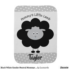 Black White Gender Neutral Mommys Little Lamb Chic Baby Burp Cloth