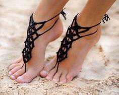 Zapatos negro de ganchillo descalzo sandalias tobilleras