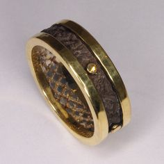 Handmade 18k gold hammered forged Mens ring