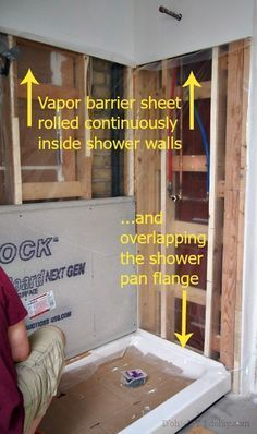 See great bathroom shower remodel ideas from homeowners who have successfully tackled this popular project. Read to learn more about all the planning that goes into a shower remodel and how to decide whether to do the work yourself or hire a professional. Basement Remodeling, Bathroom Renovations, Home Renovation, Basement Waterproofing, Basement Repair, Remodeling Ideas, Kitchen Remodeling, Cheap Renovations, Basement Bathroom