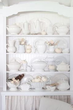 White Dishes Dressed for Fall - French Country Cottage French Country Cottage, Cottage Style, Country Fall, White Cottage, Cottage House, Country Living, French Decor, French Country Decorating, Built In Bookcase