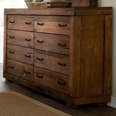 Progressive Furniture Maverick Rustic 8 Drawer Dresser with Softened Corners and Block Feet