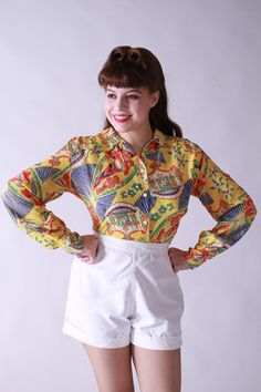 Vintage Dresses, Vintage Outfits, 1940s Woman, Aloha Shirt, Vintage Hawaiian, My Style, Blouse, Model, How To Wear