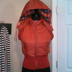 Free People Vest Free people vest. Has detachable hood with flannel like lining and drawstrings. Vest has fuzzy lining with 2 outer zip pockets. Free People Jackets & Coats Vests