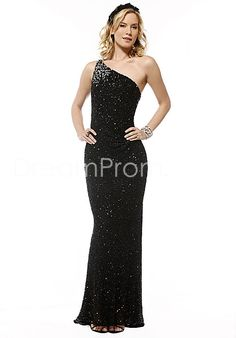 Black Sheath/Column One-Shoulder Floor-Length Evening Dresses $184.19