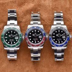 Rolex Hulk✅ x 🔵Pepsi🔴 x Batman🦇 - Amazing Trio! What Rolex would you choose? Best Swiss Watches, Swiss Army Watches, Fine Watches, Cool Watches, Black Watches, Dream Watches, Bulova Mens Watches, Rolex Watches, Men's Rolex
