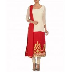 Ivory and Vermillion Red Suit with Golden Motifs
