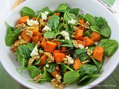 Roast pumpkin, baby spinach, walnut and fetta salad