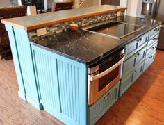 Blue Painted With Glaze Beadboard Island With Glass Bar Top