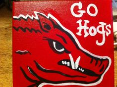 Red profile Razorback painting on red by CountrypaintingsbyBL, $25.00