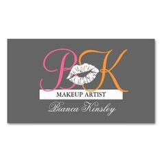 Makeup Artist Monograms Business Cards Pink Grey Carte De VisiteCartes
